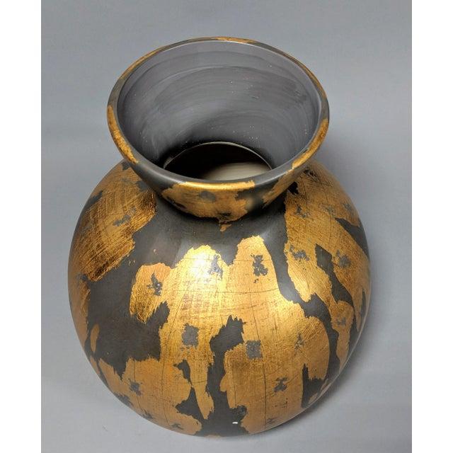 Gold Regency Gold Leaf and Charcoal Gray Vase - Large For Sale - Image 8 of 9