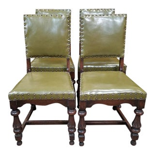 1920s Vintage Oak Dining Chairs w/ Green Leather Seats - Set of 4