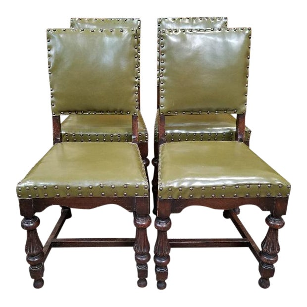 1920s Vintage Oak Dining Chairs w/ Green Leather Seats - Set of 4 For Sale