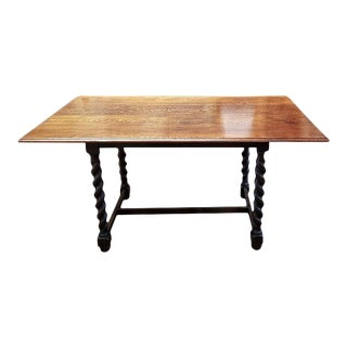 Custom English Oak Library Table W/ Barley Twist Legs C.1920 For Sale