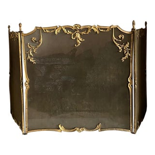 Vintage French Style Folding Fire Screen For Sale