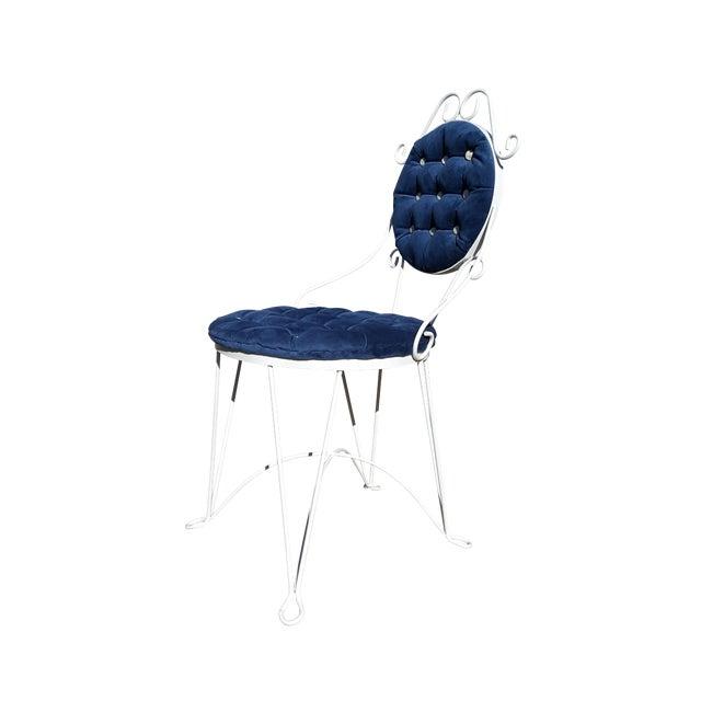 1960s Antique Iron Blue Velvet Vanity Single Chair For Sale