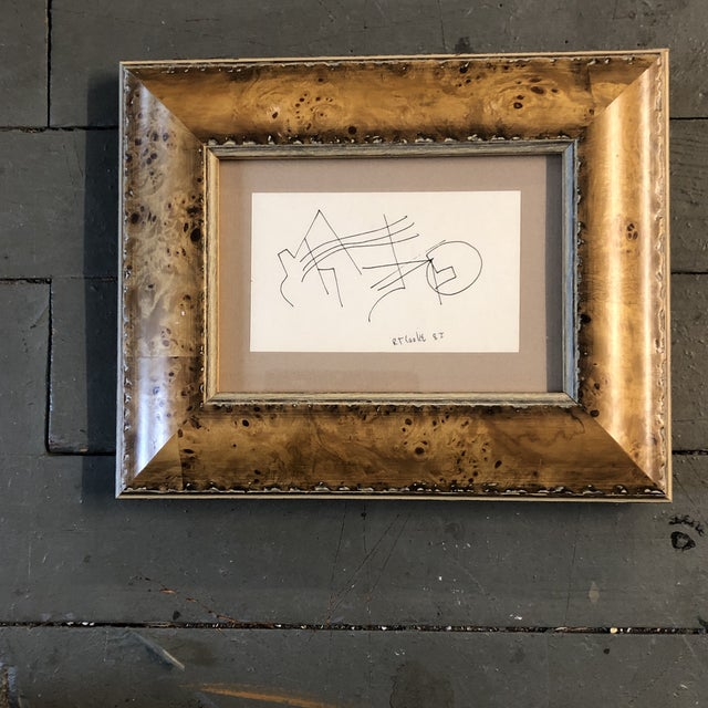 1980s Original Vintage Robert Cooke Abstract Miniature Line Drawing Burled Wood Frame 1980's For Sale - Image 5 of 5