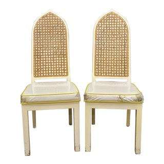 Vintage Mid-Century Bedell Hollywood Regency Pagoda Dining Chairs - A Pair For Sale
