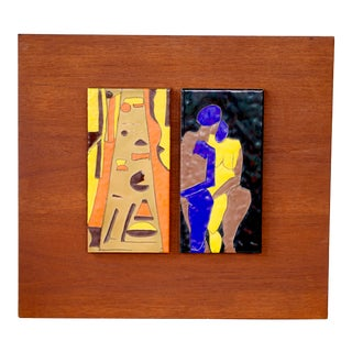 Mid Century Ceramic Abstract Painted Tile Art on Teak Board Manner of Harris Strong For Sale