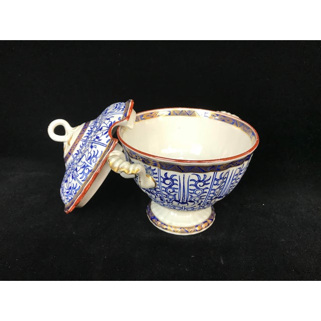 Victorian 19th Century Victorian Blue & White China Lidded Serving Dishes - a Pair For Sale - Image 3 of 11