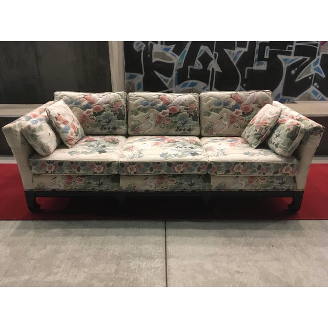 Mid 20th Century Manner of Michael Taylor for Baker Tufted Chinoiserie Sofa With Ming Legs For Sale - Image 5 of 13