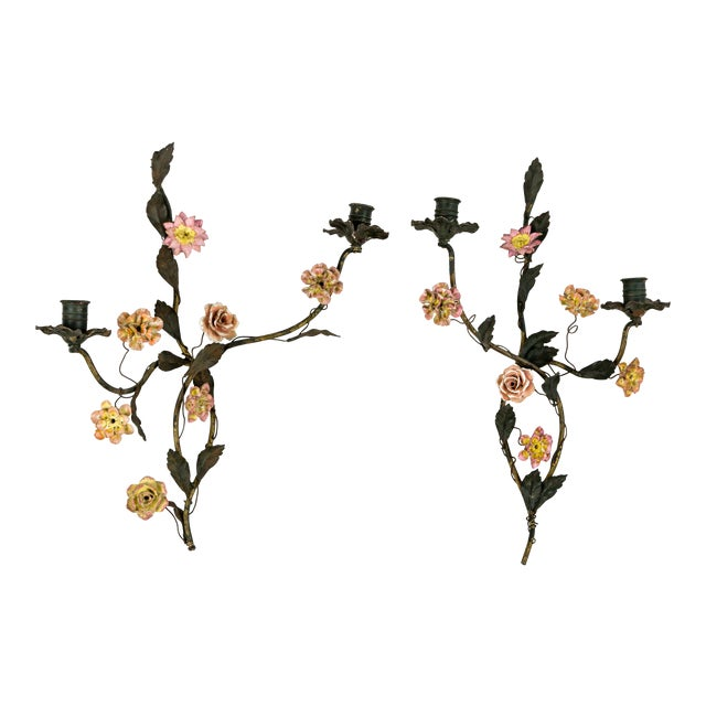 Tole and Porcelain Floral Wall Hanging Candle Holders - A Pair For Sale