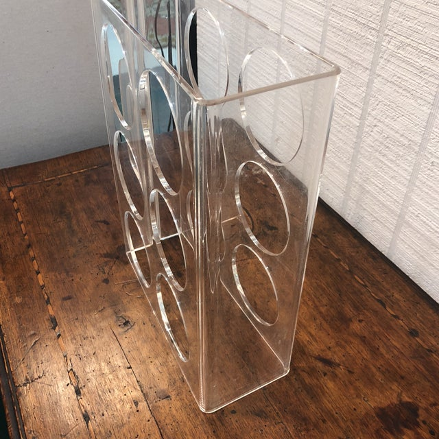 1960s Vintage Lucite Wine Carrier With Handle For Sale - Image 5 of 6