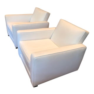 Bright Chair Company White Italian Leather Lounge Chairs- A Pair For Sale