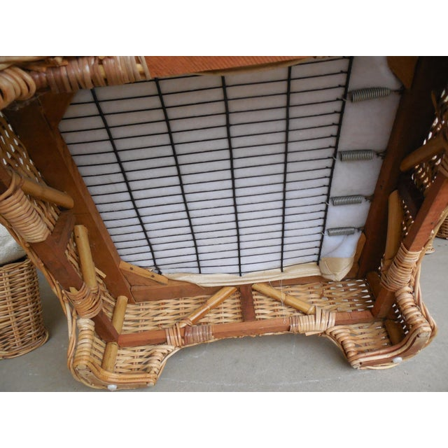 Vintage Wicker Sectional Patio Seating Set - Set of 6 - Image 7 of 8