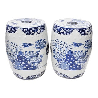 Pair of Blue & White Chinoiserie Stools For Sale