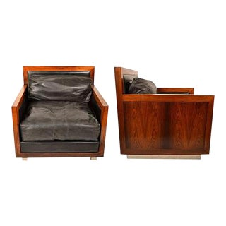 1960s Edward F. Knowles Rosewood and Leather Chairs- a Pair For Sale
