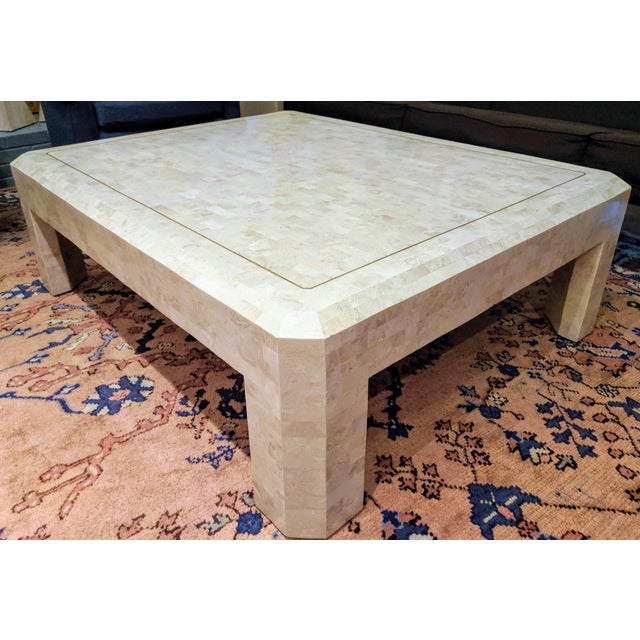 Contemporary Maitland Smith Tesselated Marble (Coral) Coffee Table For Sale - Image 3 of 10