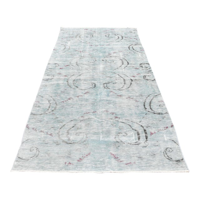 Antique Muted Handmade Boho Chic Wool Area Rug - 4′3″ × 8′2″ For Sale