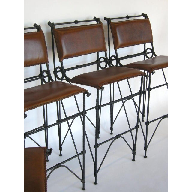 Set of Five Illana Goor Iron Bar Stools For Sale - Image 9 of 11