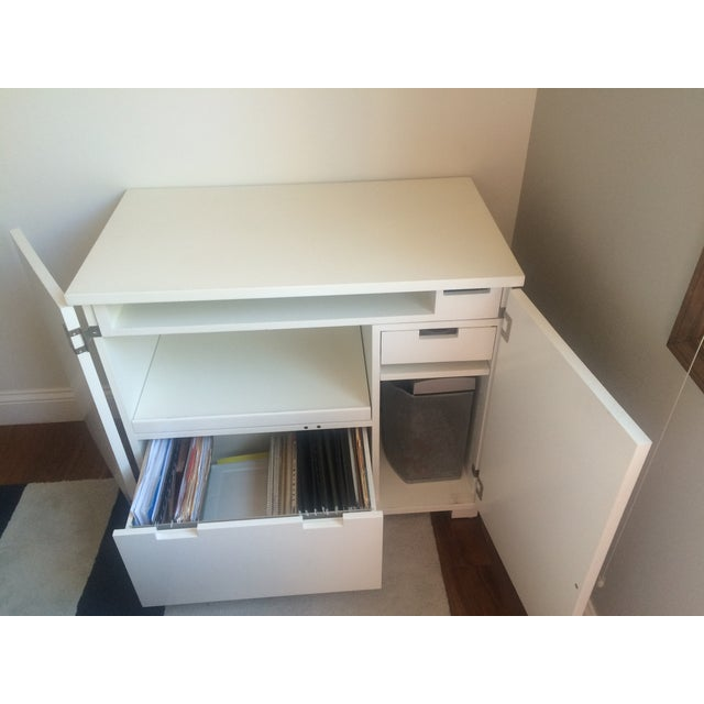 Crate & Barrel Filing Cabinet and Pull-Out Desk For Sale - Image 5 of 7
