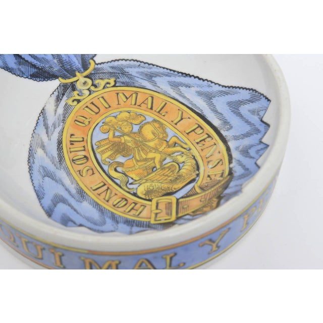 Metal Fornasetti Hallmarked Gilded Porcelain Buckle Bowl or Dish For Sale - Image 7 of 9