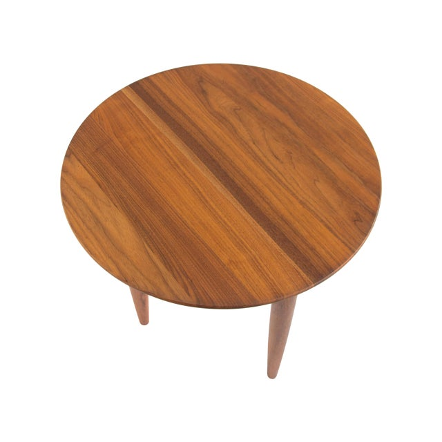 Solid Walnut Round Side Table by Prelude - Image 1 of 6