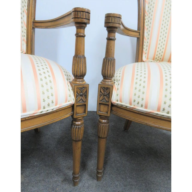 Textile Louis XVI Style Armchairs - a Pair For Sale - Image 7 of 9