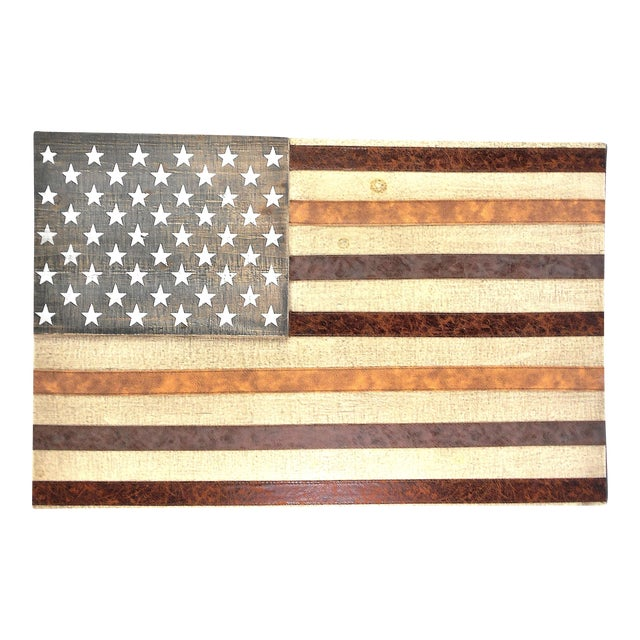 Large Rustic Wood & Leather American Flag Wall Art - Image 1 of 9