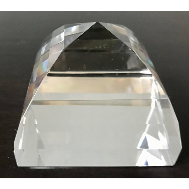 Boho Chic Tiffany & Co Crystal Pyramid Paperweight For Sale - Image 3 of 9