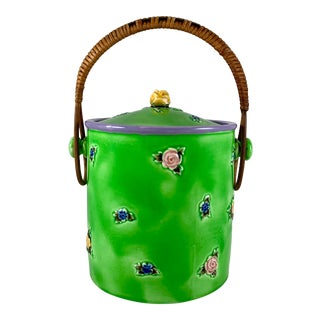 Erphila Czechoslovakia Spring Green Floral Biscuit Barrel With Rattan Handle For Sale