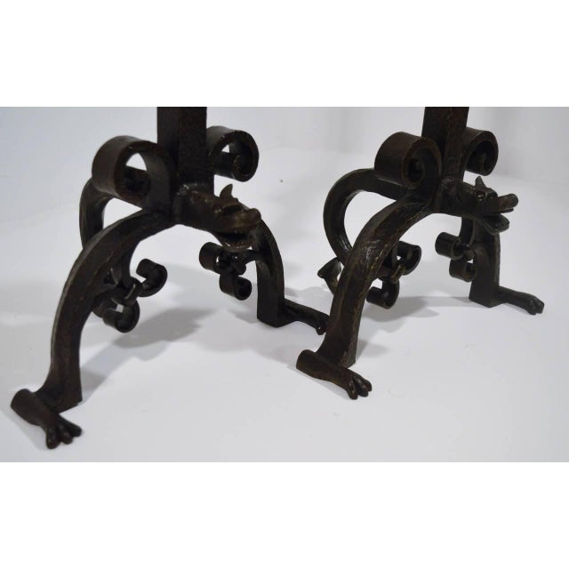 Pair of Large 1900s Iron Chenets or Andirons For Sale - Image 6 of 10