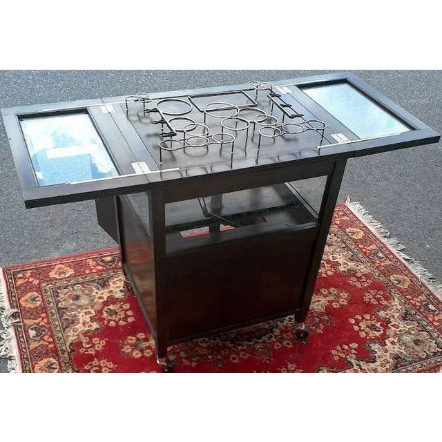 Vintage Bar Cart With Pop Up Center and Beveled Glass For Sale - Image 10 of 11