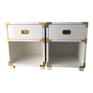 White & Brass Campaign Nightstands For Sale