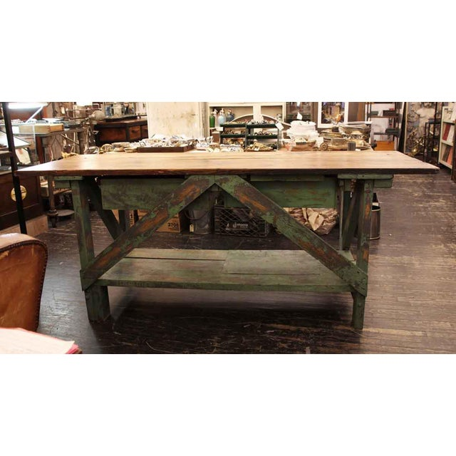 Oak Mid 20th Century Vintage Large Industrial Green Painted Work Table For Sale - Image 7 of 8