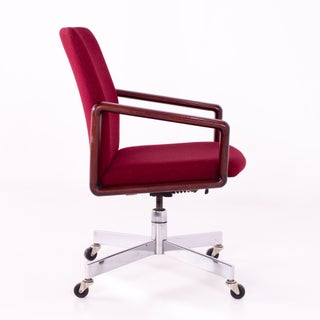 1960s Vintage Dyrlund Rosewood & Fabric Upholstered Office Chair Preview