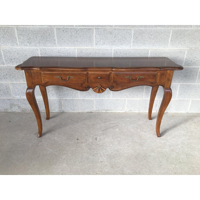 Brown Ethan Allen French Country 3 Drawer Console For Sale - Image 8 of 8