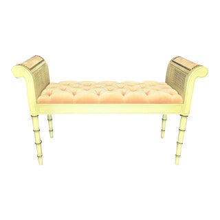 Vintage French Provincial Tufted Velvet Caned Bench For Sale