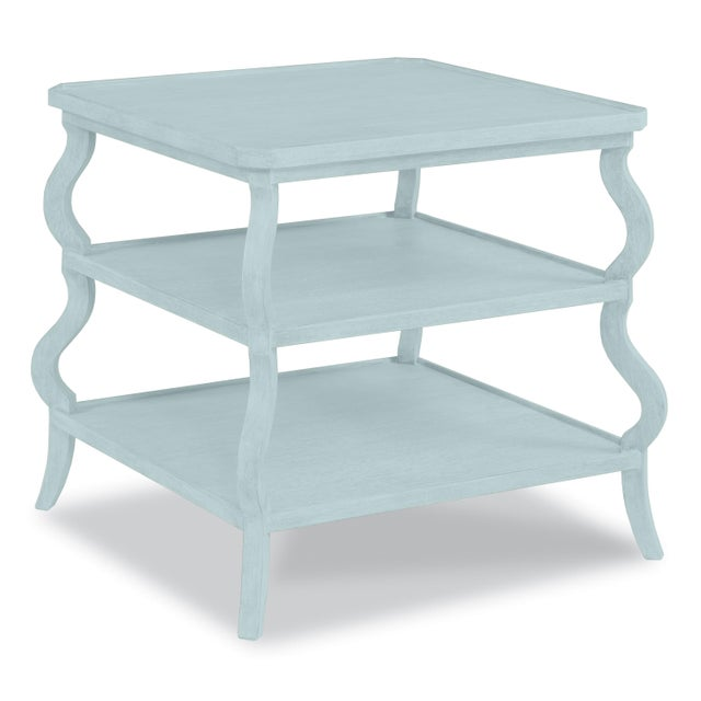 French Provincial Abbott Tiered Side Table, Palladian Blue For Sale - Image 3 of 3