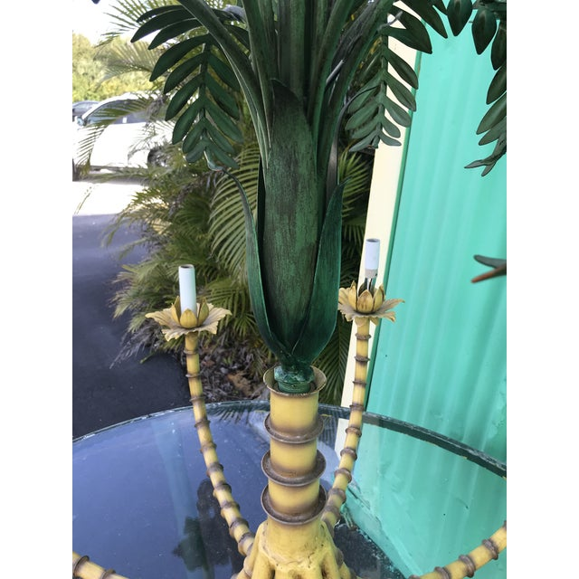 Large Palm Tree Leaf Faux Bamboo Metal Chandelier For Sale - Image 9 of 13