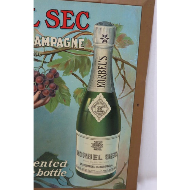 1920s 1920s Antique California Champagne Advertising Sign For Sale - Image 5 of 13