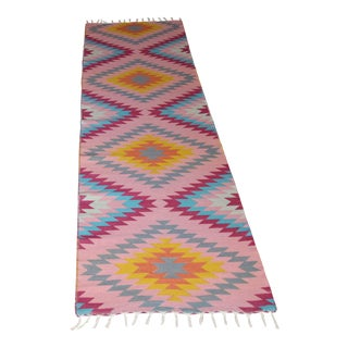"Rainbow Flat Weave Wool Diamond Runner Kilim Rug - 2'8"" X 10' For Sale"
