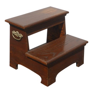 Vintage French Country Wood Two Step Bed Side Step Stool Bedroom Furniture For Sale