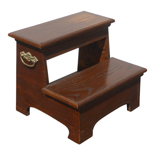 Vintage French Country Wood Two Step Bed Side Step Stool Bedroom Furniture
