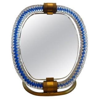 Venini Style Murano Glass and Bronze Vanity Mirror For Sale
