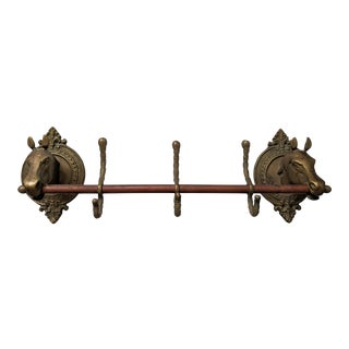 20th Century Hollywood Regency Brass and Copper Horse Wall Hook Rack For Sale
