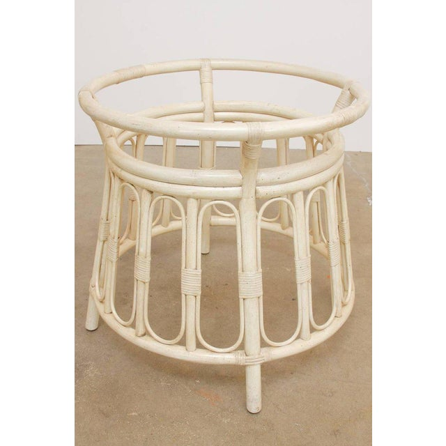 Bamboo Rattan Lacquered Round Dining Table by Brown Jordan For Sale - Image 11 of 13