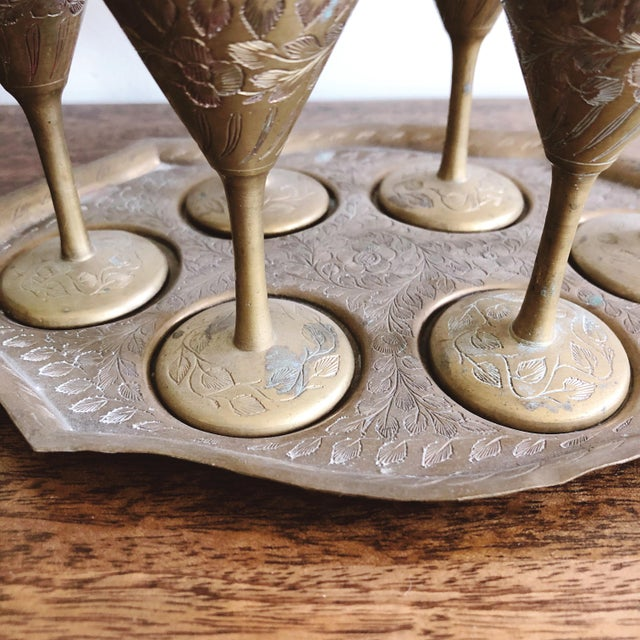 Vintage Indian Brass Cordial Set of 6 Mini Goblets and Tray For Sale - Image 4 of 6
