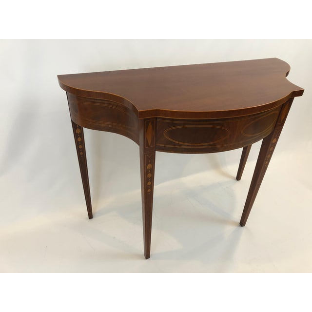 Baker Furniture Company Serpentine Flame Mahogany and Inlaid Console Table For Sale - Image 4 of 10
