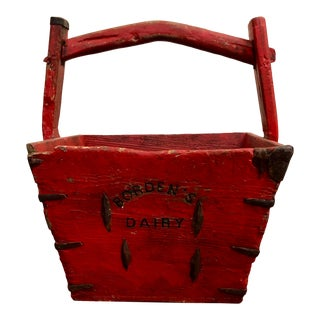 Late 19th Century Vintage Primitive Wooden Bordens Red Grain Bucket For Sale