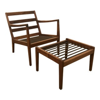 Mid-Century Modern Arden Riddle Lounge Chair With Ottoman For Sale