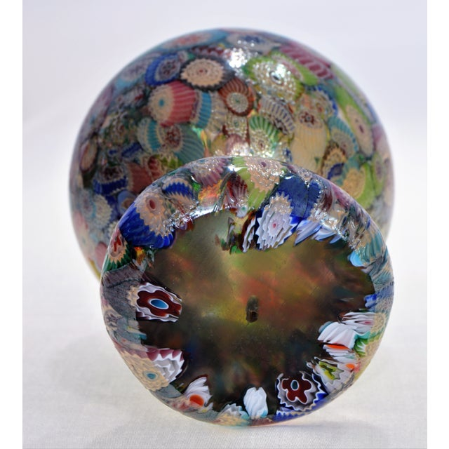 Murano Glass Millefiori Paperweight by Gambaro & Poggi - Vintage Venetian Italian Italy Mid Century Modern MCM Palm Beach Boho Chic Vase Bowl For Sale - Image 12 of 13