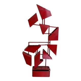 1960s Angular Red Metal Sculpture For Sale