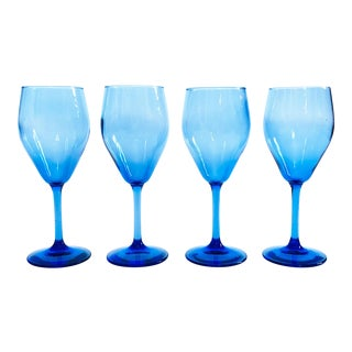 Mid Century Blue Wine Glasses - Set of 4 For Sale
